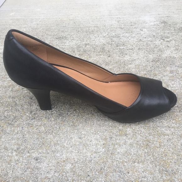e9289937427 ⬇ 💰Clarks Delsie Black Suede Pump Heel Platform